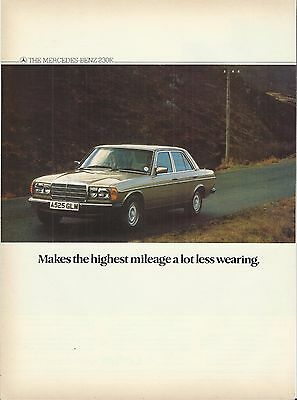 Mercedes benz 230e w123 original 1984 uk 2 sided advert for Mercedes benz wear