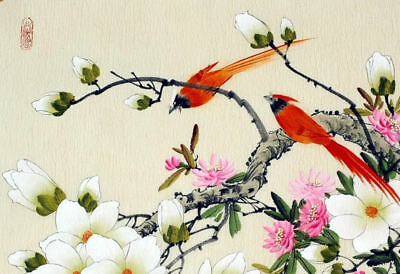 Framed Print – Traditional Japanese Artwork with Fire Birds (Oriental Picture)