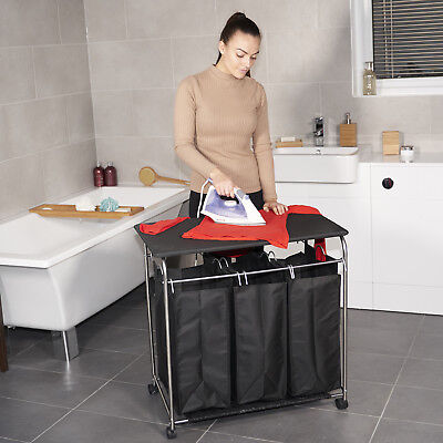 Laundry Hamper Cart 3 Removable Sorting Bags & Ironing Board Sorter Cart Wheels