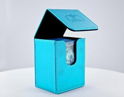 Flip Deck Case 80+ Standard Size Leatherette - Blue Ultimate Guard Card Case New