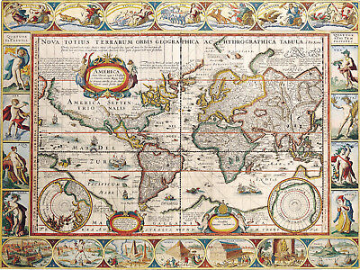 A3 Vintage Map of the Earth (Picture Ancient Antique World Cartography Art)