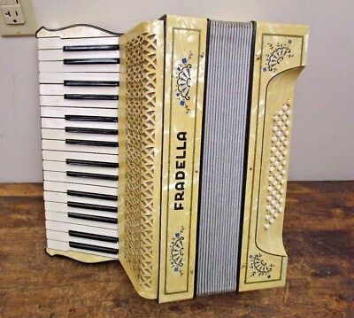 Vintage Hohner Fradella Mother of Pearl Accordion w/ Case