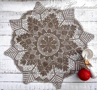 HaHa Large Grey Linen Crochet 61cm (24 inch) Round Doily /wedding/ made-to-order