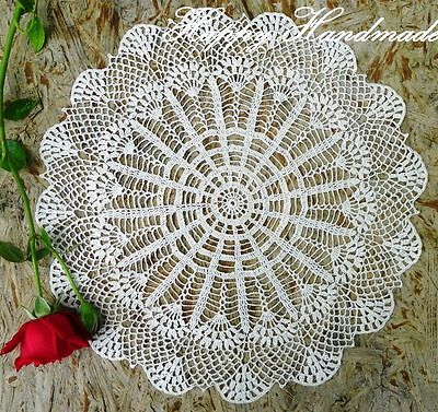 HaHa Large White Linen Crochet 41cm (16 inch) Doily /wedding/ made-to-order