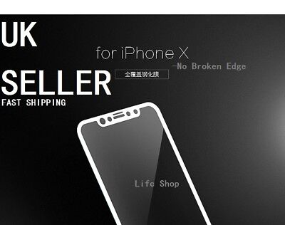 For Apple iPhone X WHITE 3D Curved Full Cover Tempered Glass Screen Protector UK