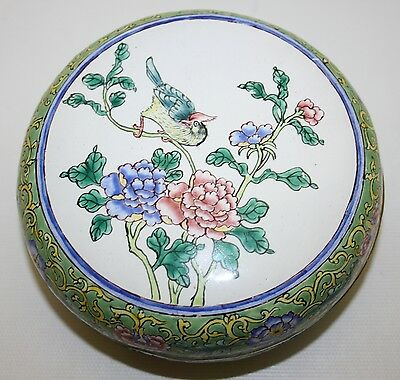 Stunning Vintage Chinese Export Hand Painted Canton Enamel On Copper Round Box