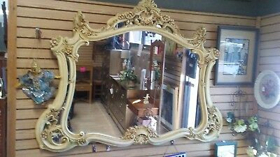 Large Vintage French Provincial ROCOCO Ornate Wall Mantle MIRROR w Scrolls