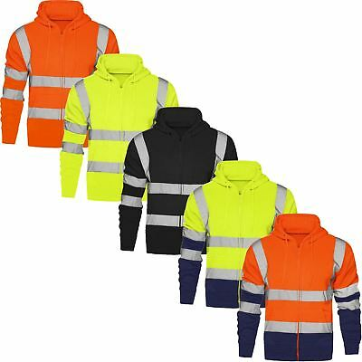 Hi High Viz Hoodie Top Safety Hooded Sweatshirt En471 Reflective Tape Security