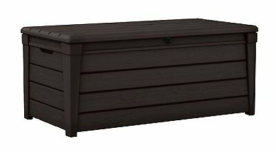 keter 120 gallon brightwood deck box outdoor patio cushion storage furniture - Patio Cushion Storage