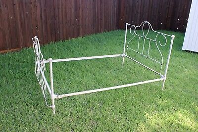 Antique true vintage Cast Wrought Iron full size Bed Iron original cone rails