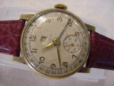 Vintage GOLD FD large antique Art Deco BENRUS MULTIFUNCTION CALENDAR watch NR