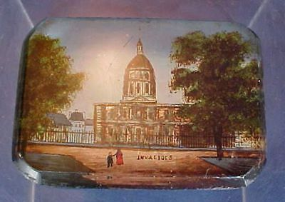 Antique Reverse Painting Invalides Building Two People Bevelled Glass Paris