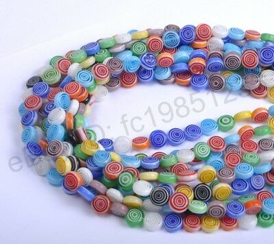Mixed Flat Round MILLEFIORI Glass Loose Spacer BEADS - Choose 4/6/8/10/12MM