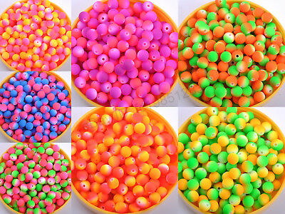 Wholesale 100pcs Matte Neon Frosted ACRYLIC Round Spacer BEADS 8MM 10MM