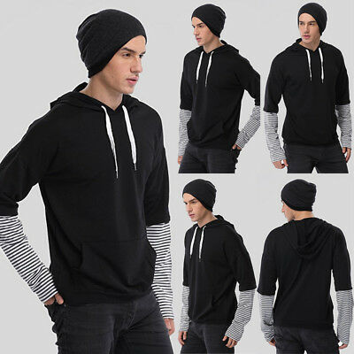 Fashion Men's Slim Fit Long Sleeve Muscle Tee T-shirt Casual Tops Blouse Hoodie