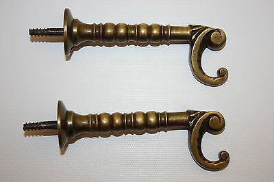 Antique Pair Of Victorian Era Ornate Solid Brass Wall Hooks W/ Old Patina