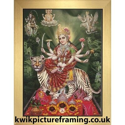 "Durga Sherawali Maa Hindu Deities Picture Photo Framed In Size - 7"" x 5"" Inches"