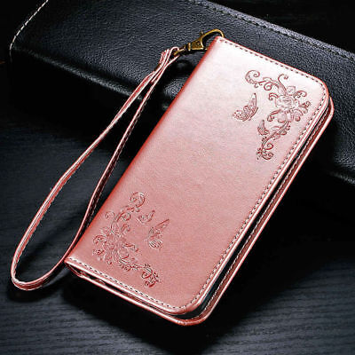 Butterfly Flower Leather Wallet Flip Card Slot Cover Case For iPhone Samsung LG