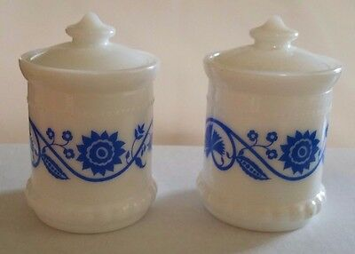 2 White Milk Glass Jars Lids Blue Floral Frenchs Mustard Condiment Promo Vintage