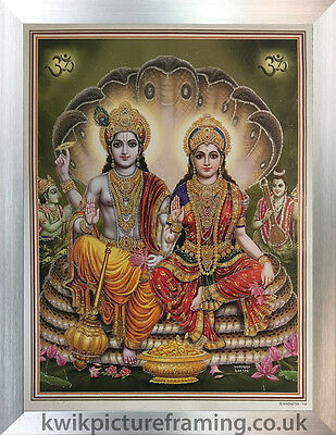"Vishnu Lakshmi Hindu Gods  Picture Photo Framed - 20"" x 14"" Inches"