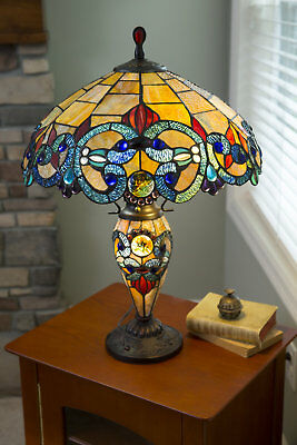 New Tiffany Style Amber Multi Color Stained Glass Double Lit Resin Table Lamp
