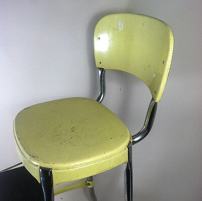 Vtg Retro COSCO STEP STOOL industrial Kitchen Seat steampunk rustic Org Yellow