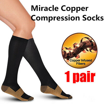 Unisex Magic Knee High Stockings Miracle Copper Anti-Fatigue Compression Socks