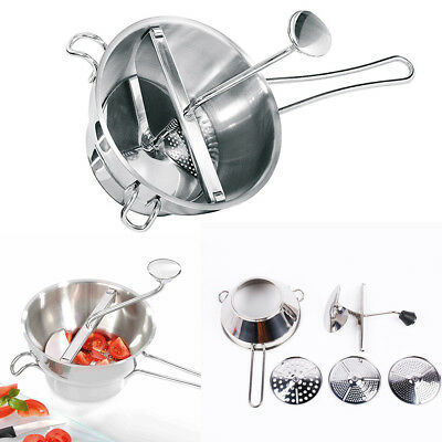 Stainless Steel Food Mill Vegetable Potato Ricer Hand Grinder W/ 3 Milling Discs
