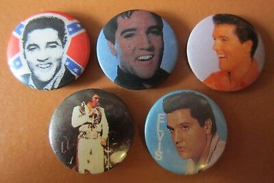5 Vintage Elvis Presley Badges Hard To Find (Lot 3)