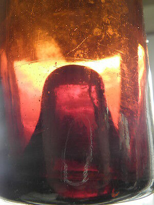 Antique Bottle glass amber Mouth Blown primitive18th Liquor Spirits Liquor WINE