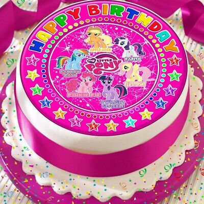 My Little Pony 75 Inch Rice Paper Precut Edible Cake Topper Happy Birthday 985