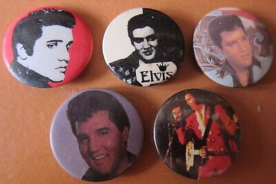 5 Vintage Elvis Presley Badges Hard To Find (Lot 4)