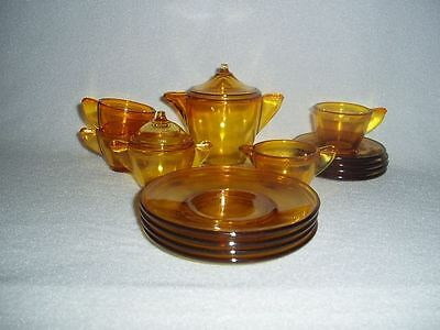 Akro Agate Children's Tea Set Large Stippled Band Amber - Topaz  Free Shipping