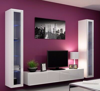 Bmf Vigo 5 Tv Wall Unit With Vertical Slim Glass Cabinets High Gloss Fronts