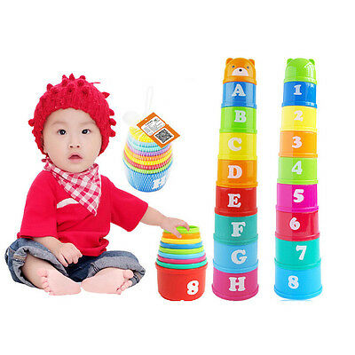 Stack & Nest Plastic Cups Rainbow Stacking Tower Educational Stacking Kid Toy IU