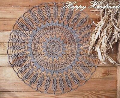 HaHa Large Grey Linen Crochet 46cm (18 inch) Doily / wedding / made-to-order