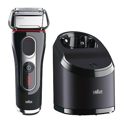New Mens Braun Series 5 Wet Dry Electric Foil Shaver Clean Charge Station 5190c