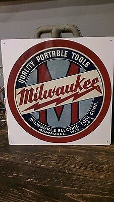 Milwaukee Quality Heavy Duty Quality Tools metal Repro sign vintage 12x12 50011