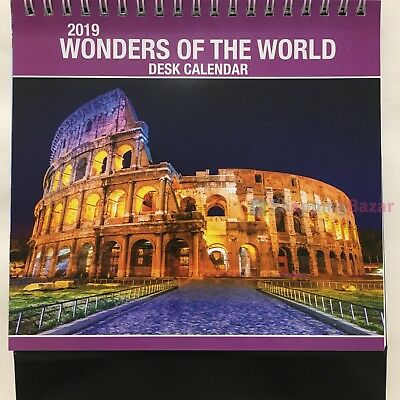 2019 wonders of the world desktop calendar 1 one month to view spiral planner