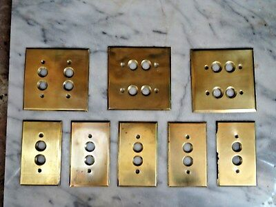 Antique Vintage BRASS ELECTRIC PUSH 2 & 4 BUTTON SWITCH PLATES Outlet Covers