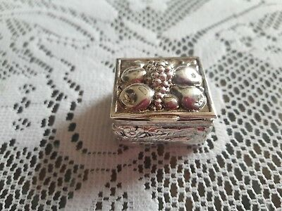 RARE Hinged Silver Trinket Box with Repousse' Fruit Design on Lid