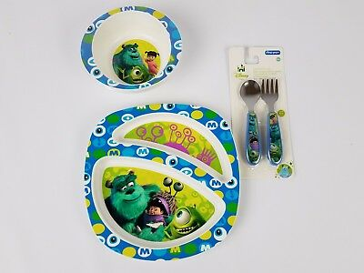 Monsters Inc Disney Children's Mealtime Set with Plate, Bowl, Spoon and Fork