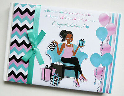 Mum To Be (Mom To Be) Dark Skin Boy Girl Baby Shower Guest Book - Any Design