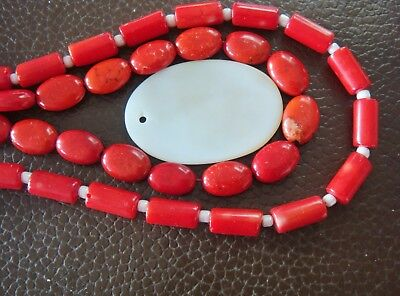 Red Agate tubes, bright Red Howlite ovals & a mother of pearl pendant,  3 Item B