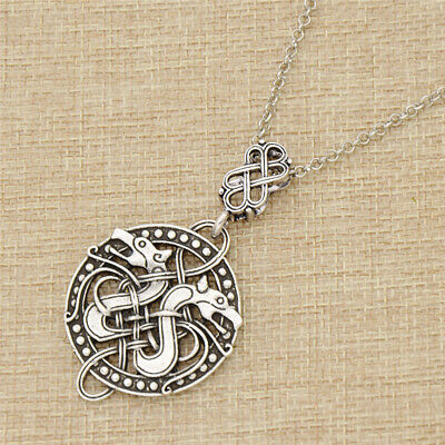 Fashion Norse Silver Celtic Knots Dragon Odin Necklace Viking Mens Jewelry Charm