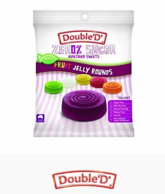 12 x 70g DOUBLE D HEALTHIER SWEETS Sugar Free Fruit Jelly Rounds ( total 840g )