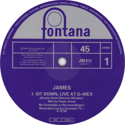 James. Sit Down record label sticker. Manchester