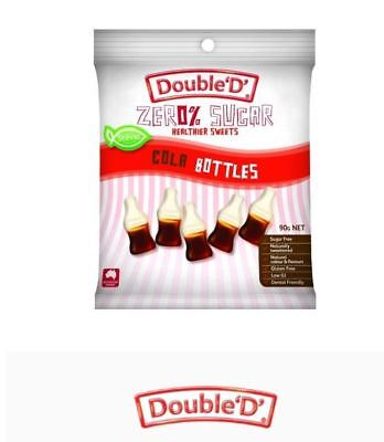 12 x 90g DOUBLE D HEALTHIER SWEETS Sugar Free Cola Bottles ( 1.08kg ) FREE POST