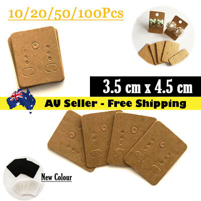 10/20/50/100 Earring Display Tags Card, Plain Brown Recycled Paper 3.5x4.5cm