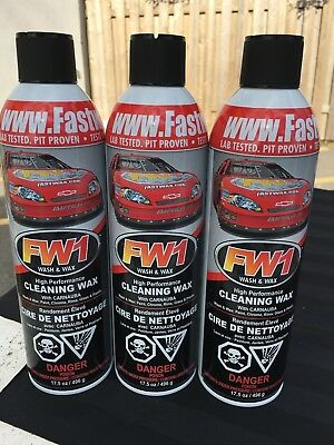 3 Cans Of Fw1 Waterless Detail Cleaner With Carnauba Wax Car Wash